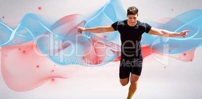 Composite image of front view of happy sportsman is running for
