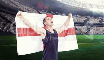 Composite image of athlete holding england national flag