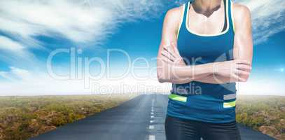 Composite image of sportswoman posing and smiling