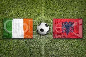Ireland vs. Albania flags on soccer field