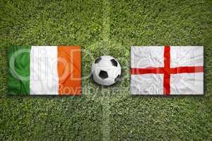 Ireland vs. England flags on soccer field