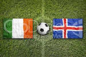 Ireland vs. Iceland flags on soccer field