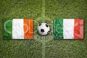 Ireland vs. Italy flags on soccer field