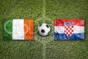 Ireland vs. Croatia flags on soccer field