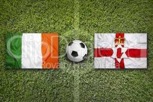 Ireland vs. Northern Ireland flags on soccer field