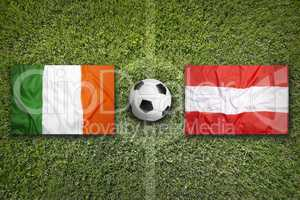 Ireland vs. Austria flags on soccer field