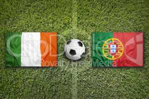 Ireland vs. Portugal flags on soccer field