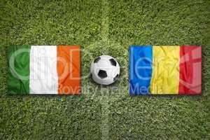Ireland vs. Romania flags on soccer field