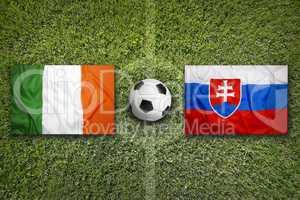 Ireland vs. Slovakia flags on soccer field