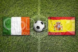 Ireland vs. Spain flags on soccer field