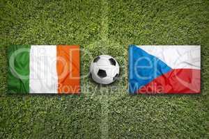 Ireland vs. Czech Republic flags on soccer field