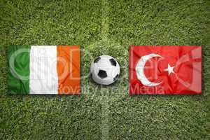Ireland vs. Turkey flags on soccer field