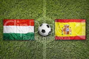 Hungary vs. Spain flags on soccer field
