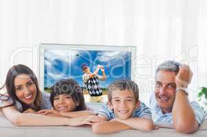 Composite image of family in sitting room smiling at camera