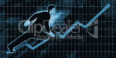 Chinese Businessman Charging Ahead on Blue Background