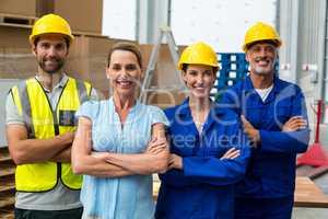 Workers team crossing arms