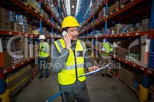 Worker using phone