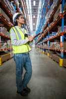Female worker looking up