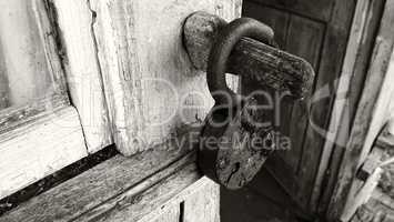 Horizontal sepia opened door lock background