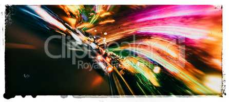 Horizontal wide vivid vibrant speed highway abstraction postcard