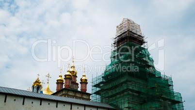 Horizontal vivid orthodox church under restoration background ba