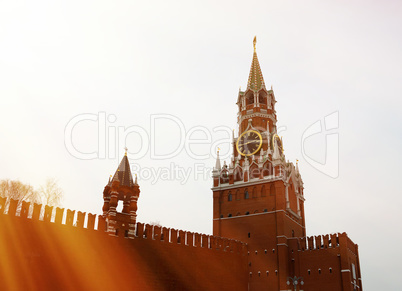 Moscow Clock Tower on Red Square background