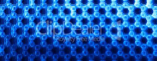 Horizontal blue 3d extruded cubes abstraction background