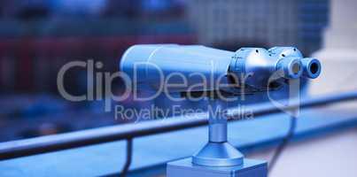 Diagonal bluish street binoculars bokeh background