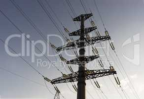 Horizontal city power lines background