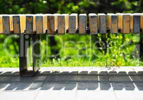 Horizontal park bench bokeh background