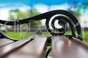 Horizontal Moscow park bench bokeh background