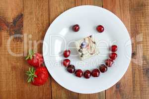 strawberry cherry with cake in shape of smile