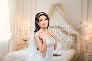 Rich Bride with beautiful eyes in the apartment