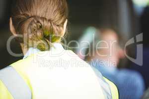 Rear view of a ambulance woman
