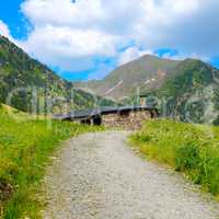 scenic mountain landscape and shelter for travelers