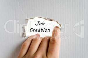 Job creation text concept