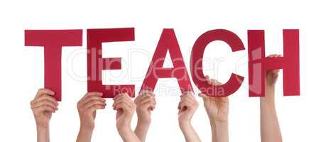 Many People Hands Holding Red Straight Word Teach