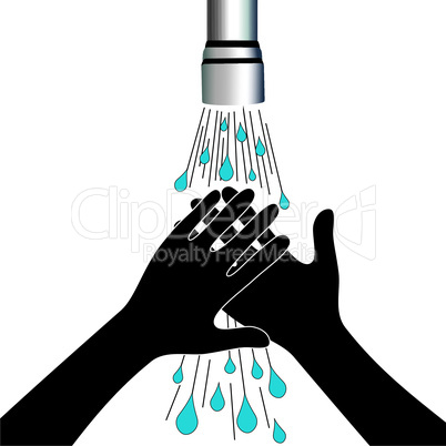 Hand washing under clean water tap health care vector illustration. Medical concept.