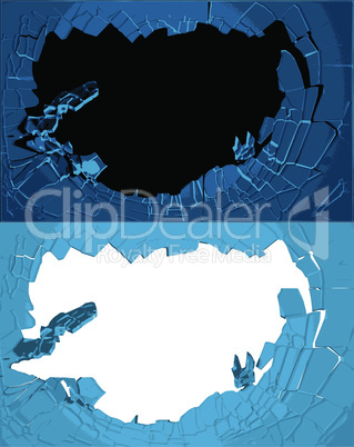 Hole cracks in the wall. Broken ice or glass template for a content. Cleft, crushed, flaw vector illustration.