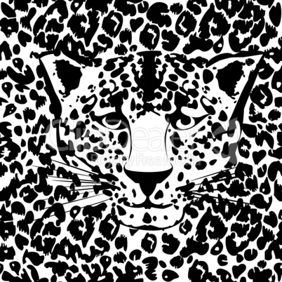 Seamless animal fur pattern vector. Cheetah, leopard tiger head skin texture.