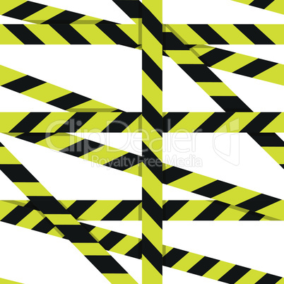 Vector seamless pattern: Entrance prohibited background seamless yellow warning caution ribbon tape vector on white background. Crime scene restricted zone.