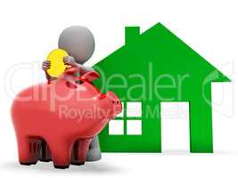 Character Mortgage Represents Real Estate And Banking 3d Renderi