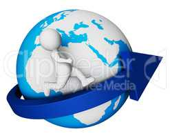 Worldwide Globe Means Render Globally And Globalisation 3d Rende