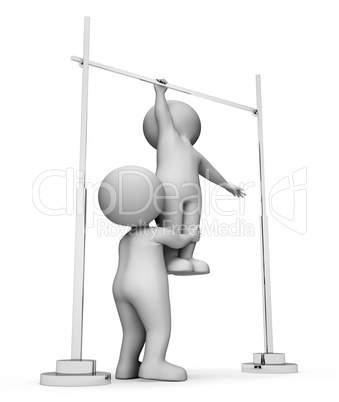 High Bar Shows Get Fit And Apparatus 3d Rendering