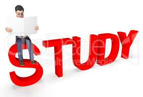Study Businessman Represents Character Educated And Studied 3d R