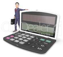Calculator Businessman Indicates Entrepreneur Earnings And Figur