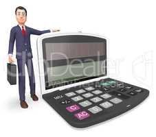 Calculator Businessman Indicates Executive Calculation And Entre