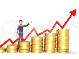 Coins Success Shows Business Person And Banking 3d Rendering