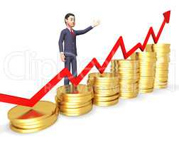 Profits Businessman Means Winner Victory And Earning 3d Renderin