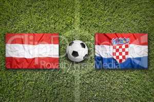 Austria vs. Croatia flags on soccer field
